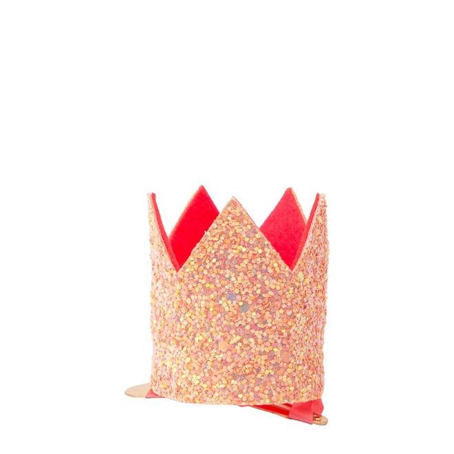 Meri Meri Meri Meri Mini Pink Glitter Crown Hair Clip