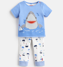 Joules Joules Doodle Shark Applique Tee and Pants Set