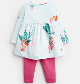 Joules Joules Christina Floral Striped Dress and Leggings Set
