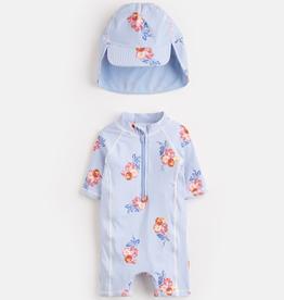 Joules Joules Floral Stripe Sunsuit and Hat Set