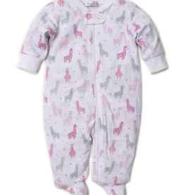 kissy kissy Kissy Kissy Wooly Llamas Print Footie with Zipper