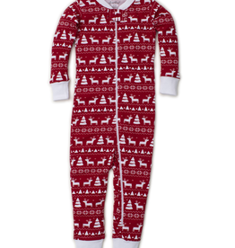 kissy kissy Kissy Kissy Christmas Deer Print Pajamas with Zipper