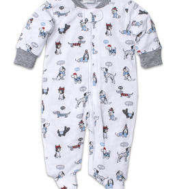 kissy kissy Kissy Kissy Classic Pups Print Footie with Zipper