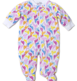kissy kissy Kissy Kissy Rainbow Hearts Print Footie with Zipper