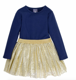 tooby doo Tooby Doo Long Sleeve Sparke Belted Tulle Dress