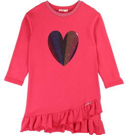Billieblush Billieblush Long Sleeve Dress with Heart Graphic and Ruffle Bottom