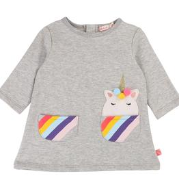 Billieblush Billieblush Long Sleeve Dress with Striped Pockets with Unicorn