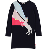 Billieblush Billieblush Long Sleeve Dress with Unicorn Graphic