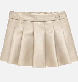 Mayoral Mayoral Pleated Faux Leather Skirt