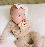 Loulou Lollipop Pastel Pink Rainbow Silicone Teether Holder Set
