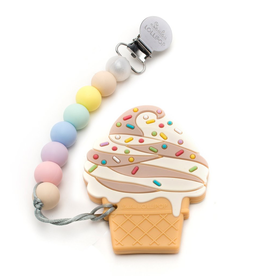 Loulou Lollipop Chocolate Ice Cream Silicone Teether with Holder Set