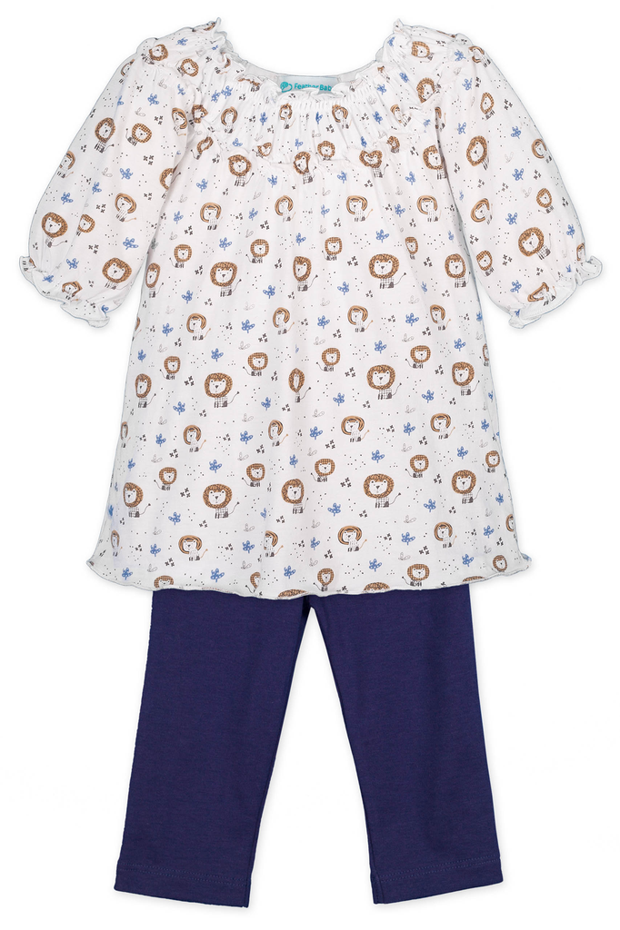 Feather Baby Feather Baby Lions Ruched Tunic Set