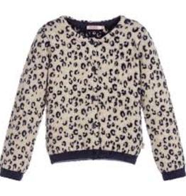 Billieblush Billieblush Knit Cardigan with Leopard Jacquard Detail