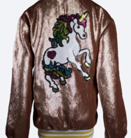 Lola & the Boys Lola & the Boys Unicorn Rose Gold Sequin Bomber