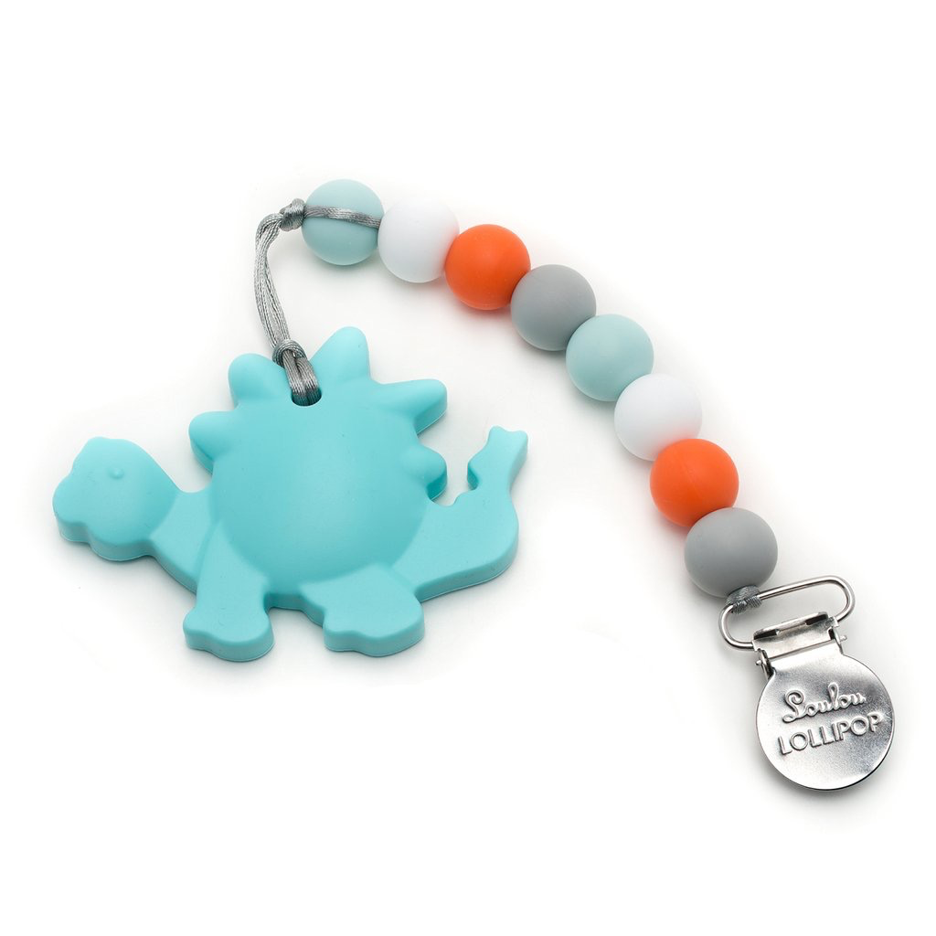 Loulou Lollipop Aqua Dinosaur Silicone Teether with Holder Set