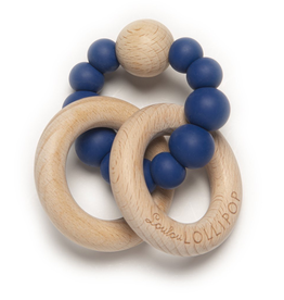 Loulou Lollipop Loulou Lollipop Bubble Silicone and Wood Teether - True Blue