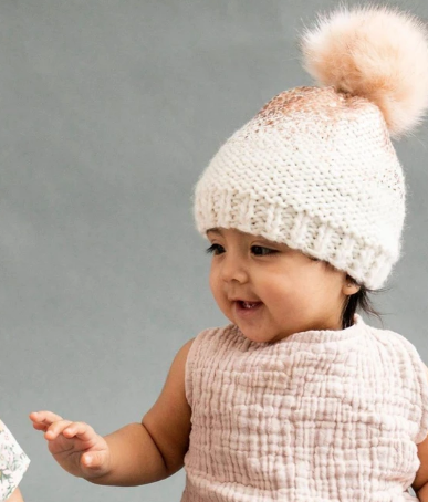 The Blueberry Hill The Blueberry Hill Rose Gold Pearl Metallic Hat with Faux Fur Pom