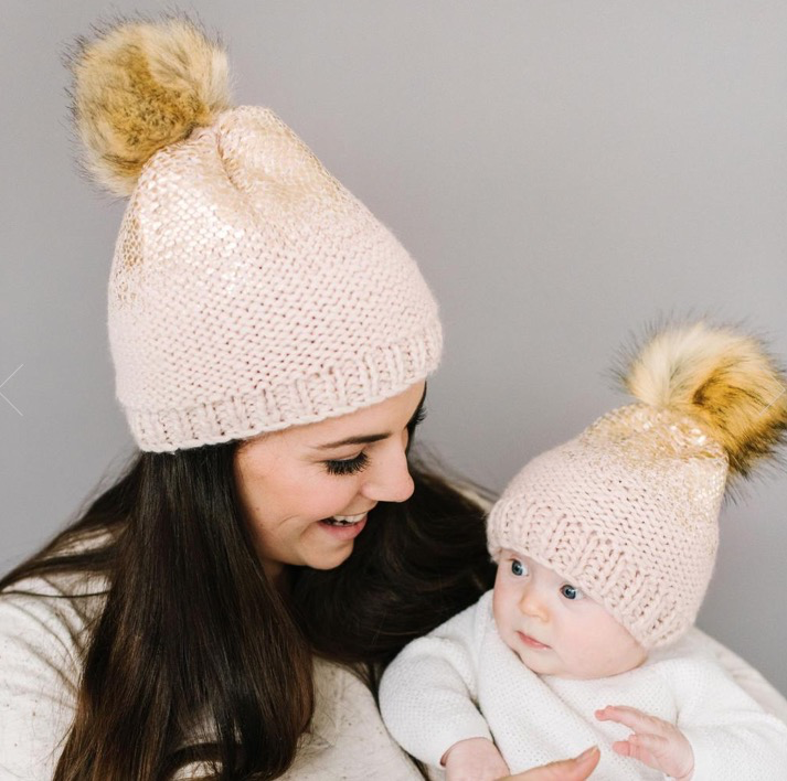 The Blueberry Hill The Blueberry Hill Pink Pearl Metallic Hat with Faux Fur Pom