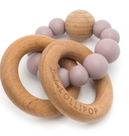 Loulou Lollipop Loulou Lollipop Bubble Silicone and Wood Teether - Dusty Mauve