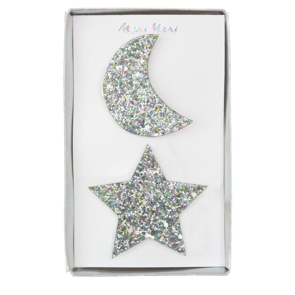 Meri Meri Meri Meri Large Star And Moon Hair Clips 2