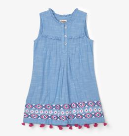 Hatley Hatley Chambray Floral Pin Tuck Dress