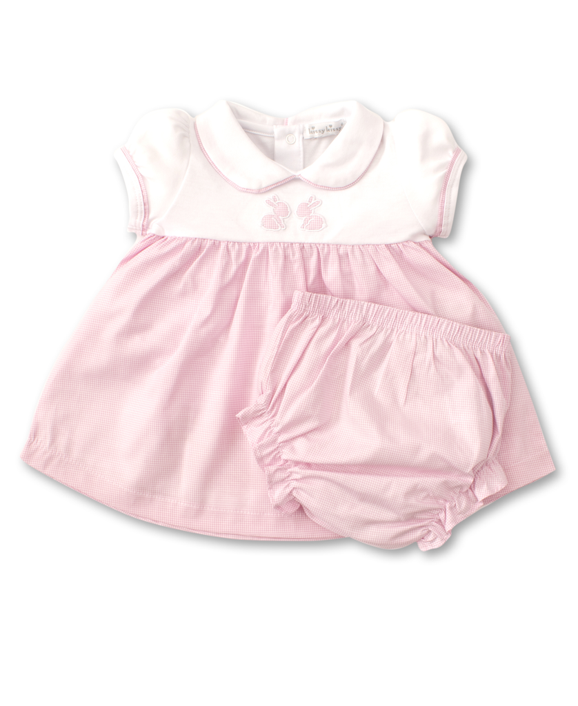 kissy kissy Kissy Kissy Pique Baby Bunnies Dress with Diaper Cover