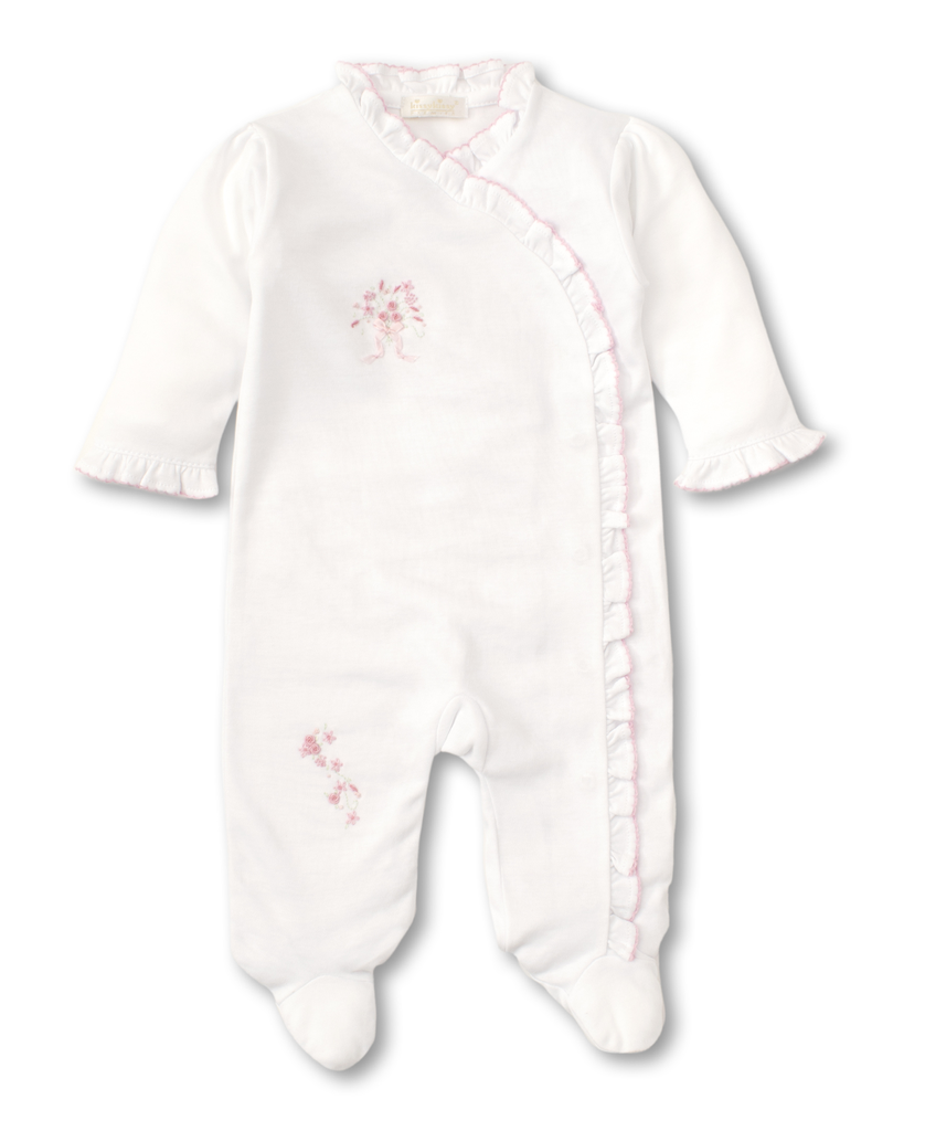 kissy kissy Kissy Kissy Premier Summer Bouquet Footie with Hand Embroidery