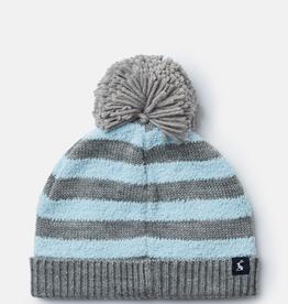 Joules Joules Bobble Blue Stripe Hat