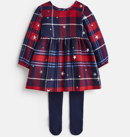 Joules Joules Macy Check Dress and Tights Set