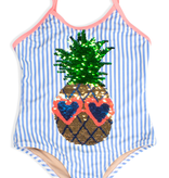 Shade Critters Shade Critters Sequin Striped Pineapple One Piece