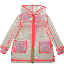 Billieblush Billieblush Transparent Raincoat with Iridescent Sequins