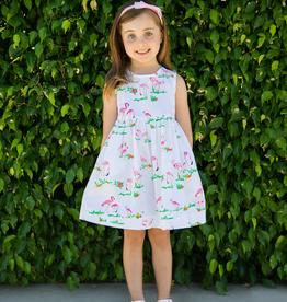 Smiling Button Flamingo Pinny Dress