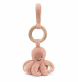 JellyCat Jelly Cat Odell Octopus Wooden Ring Stroller Toy