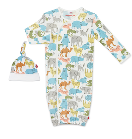 Magnificent Baby Magnificent Baby Zoo Crew Organic Cotton Magnetic Gown Set