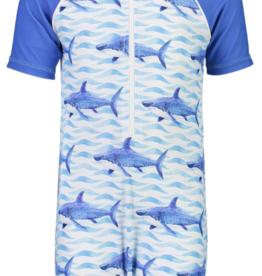 Snapper Rock Snapper Rock School of Sharks Short Sleeve Sunsuit UV50+
