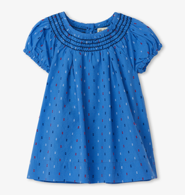 Hatley Hatley Nautical Swiss Dot Smocked Dress