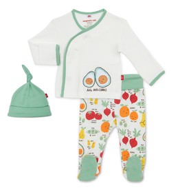 Magnificent Baby Magnificent Baby Perfect Puns Organic Cotton 3pc Kimono Set
