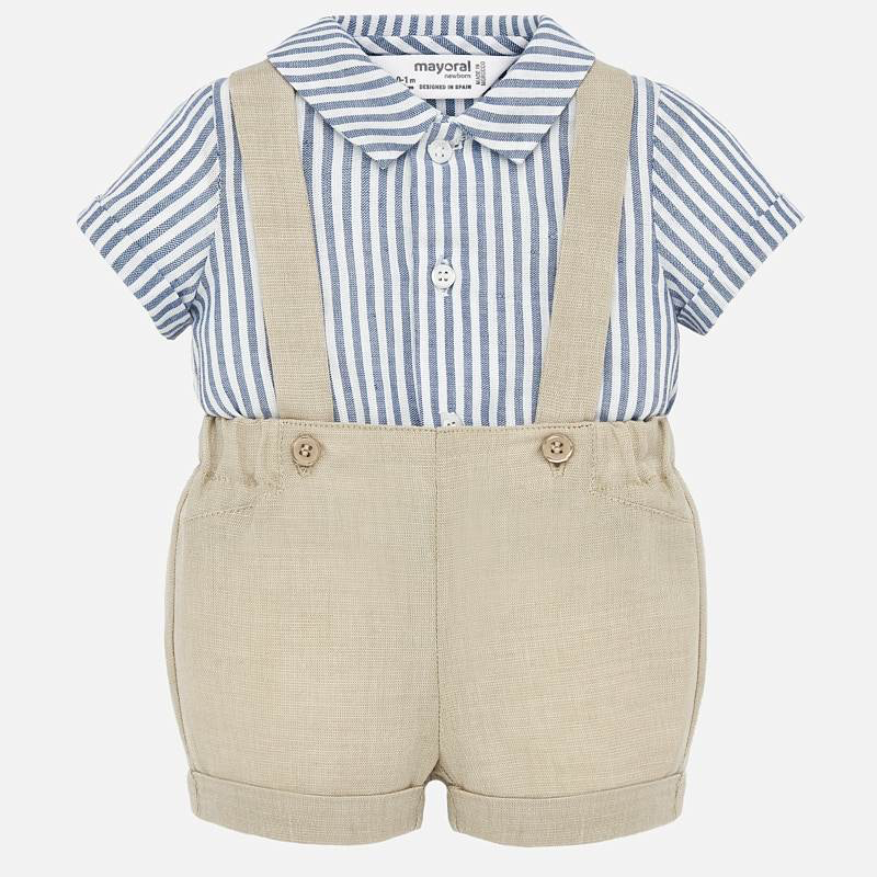 Mayoral Mayoral Button up Shirt and Suspender Pant Set