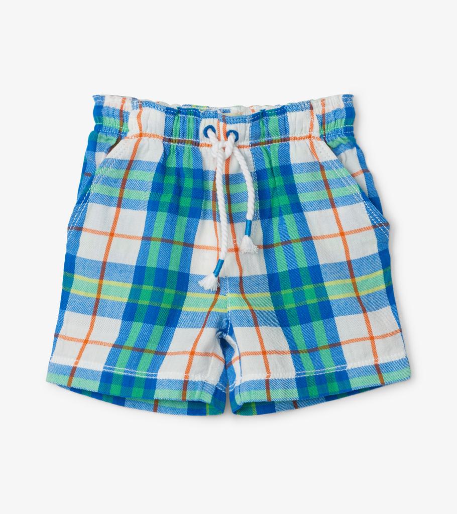 Hatley Hatley Tiny Tropical Plaid Woven Shorts
