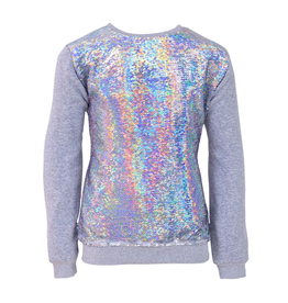 Lola & the Boys Lola & the Boys Silver Sequin Flip Sweatshirt