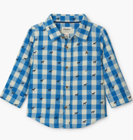 Hatley Hatley Plaid Pups Button Down Shirt