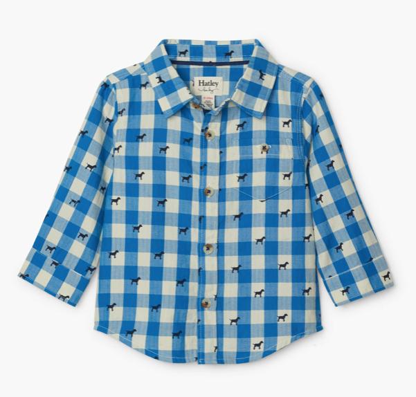 Hatley Hatley Plaid Pups Button Down Shirt