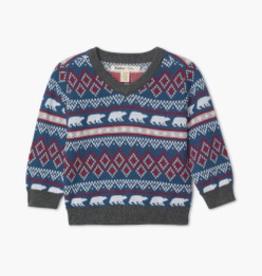 Hatley Hatley Faire Isle Polar Bear V-Neck Sweater
