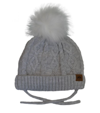 Cali Kids Cotton Knit Faux Fur Pom Pom Hat *3 colors*
