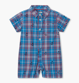 Hatley Hatley Nautical Plaid Baby Woven Romper