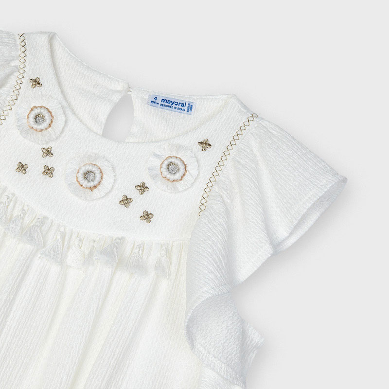 Mayoral Mayoral Embroided Applique Dress