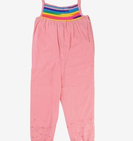 Billieblush Billieblush Sleeveless Jumpsuit with Rainbow Pom Pom Trim
