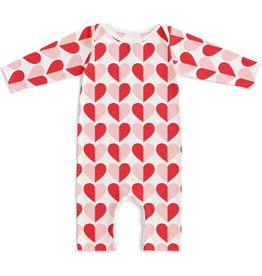 Winter Water Factory Winter Water Factory Long-Sleeve Romper - Hearts Red & Pink