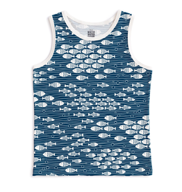 Winter Water Factory Winter Water Factory Tank Top Romper - Under the Sea Navy