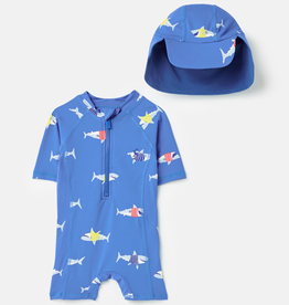 Joules Joules Shark Printed Swim Suit & Hat Set